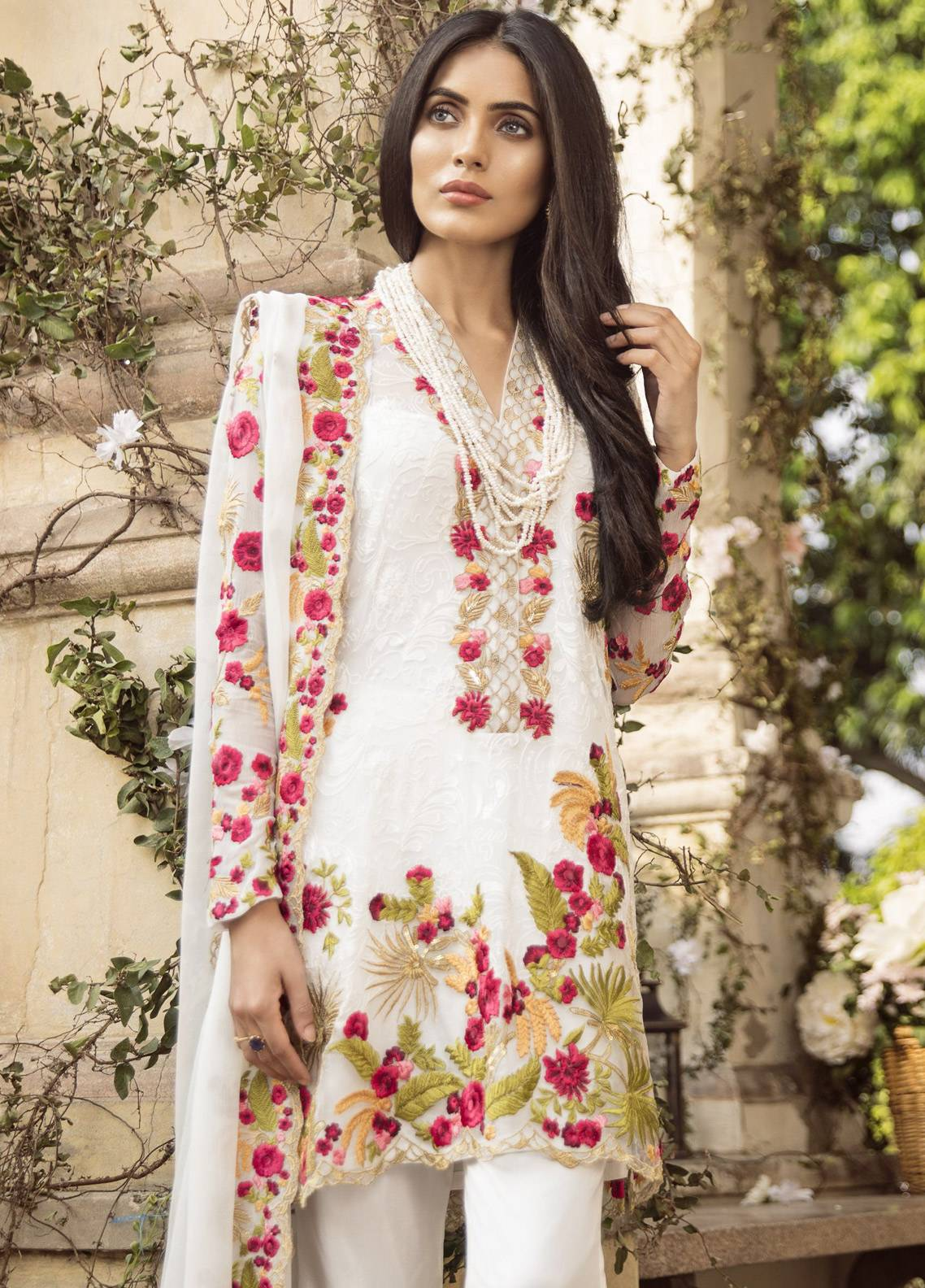 Mina Hasan Embroidered Chiffon Unstitched 3 Piece Suit MH18C BEESHA - Festive Collection