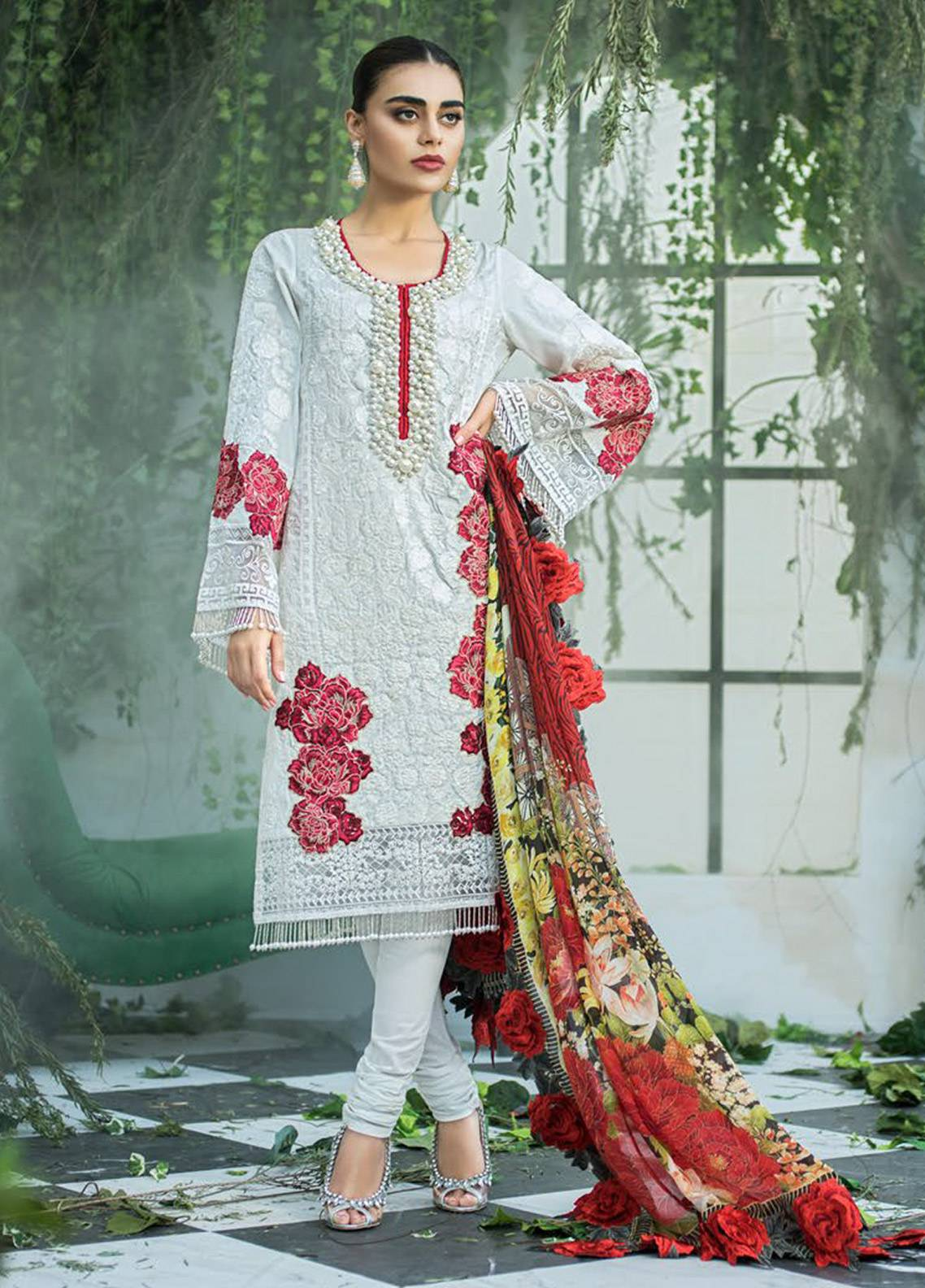 Maheen Karim by ZS Textile Embroidered Lawn Unstitched 3 Piece Suit MHK18L 15 - Spring / Summer Collection
