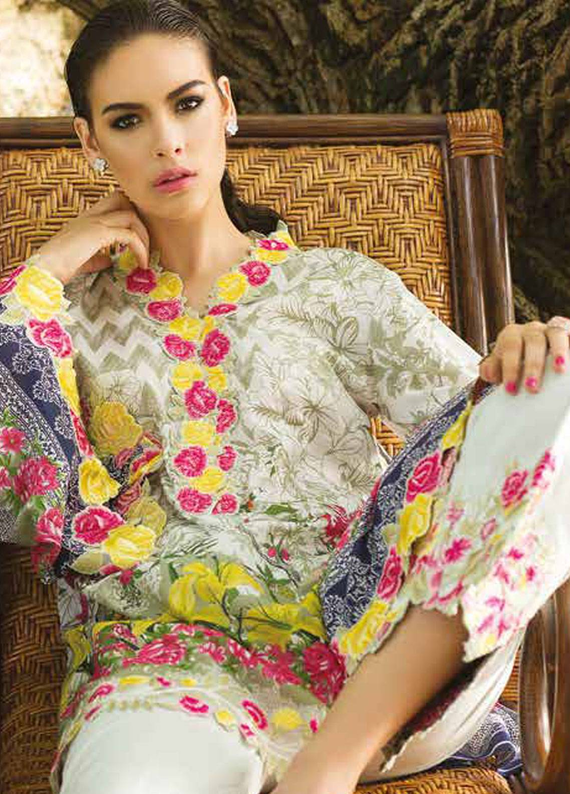 Maheen Taseer Embroidered Lawn Unstitched 3 Piece Suit MHT18L 1B - Spring / Summer Collection