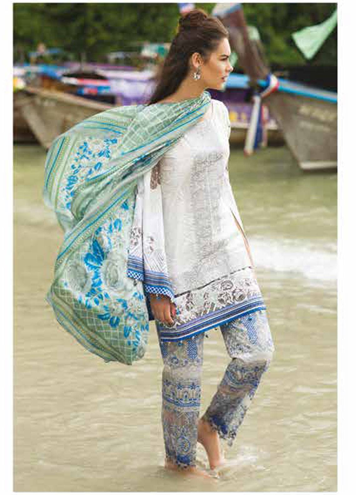 Maheen Taseer Embroidered Lawn Unstitched 3 Piece Suit MHT18L 2B - Spring / Summer Collection
