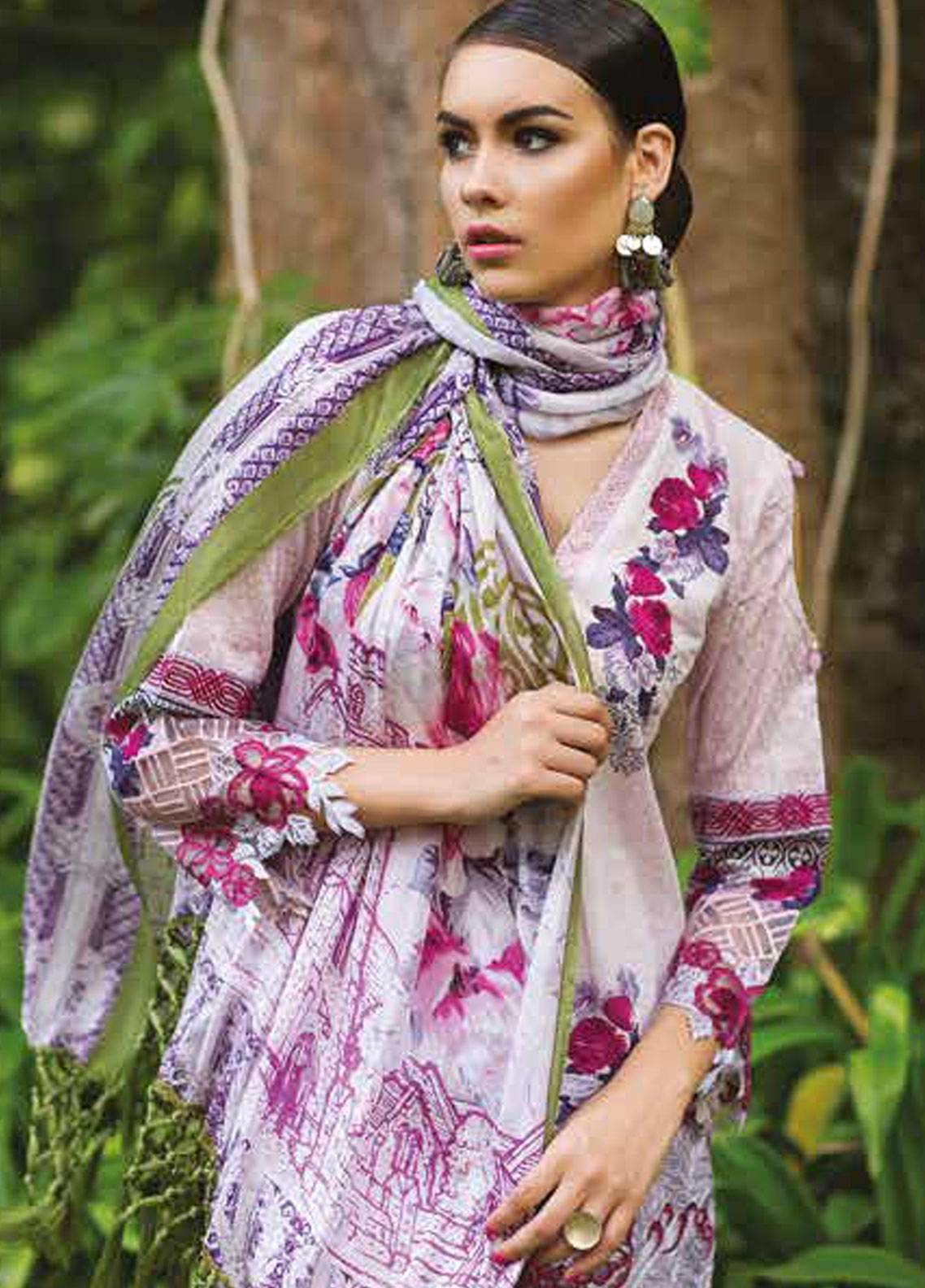 Maheen Taseer Embroidered Lawn Unstitched 3 Piece Suit MHT18L 7B - Spring / Summer Collection