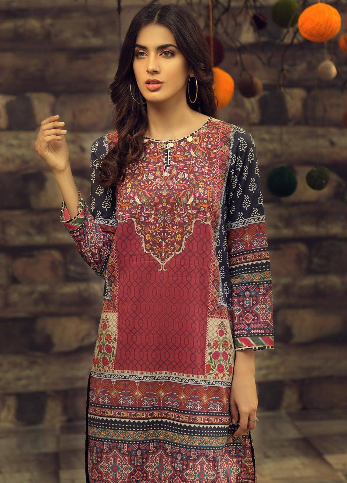 LimeLight Printed Cambric Unstitched Kurties MIDNIGHT (BLACK) - Cambric Collection