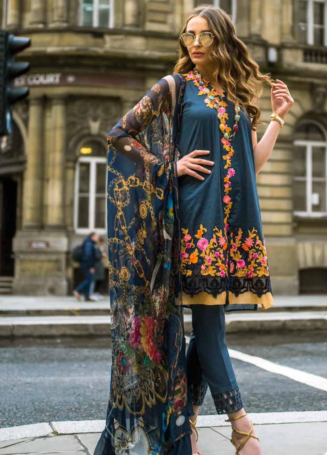 Mina Hasan Embroidered Lawn Unstitched 3 Piece Suit MH19F 1B - Festive Collection