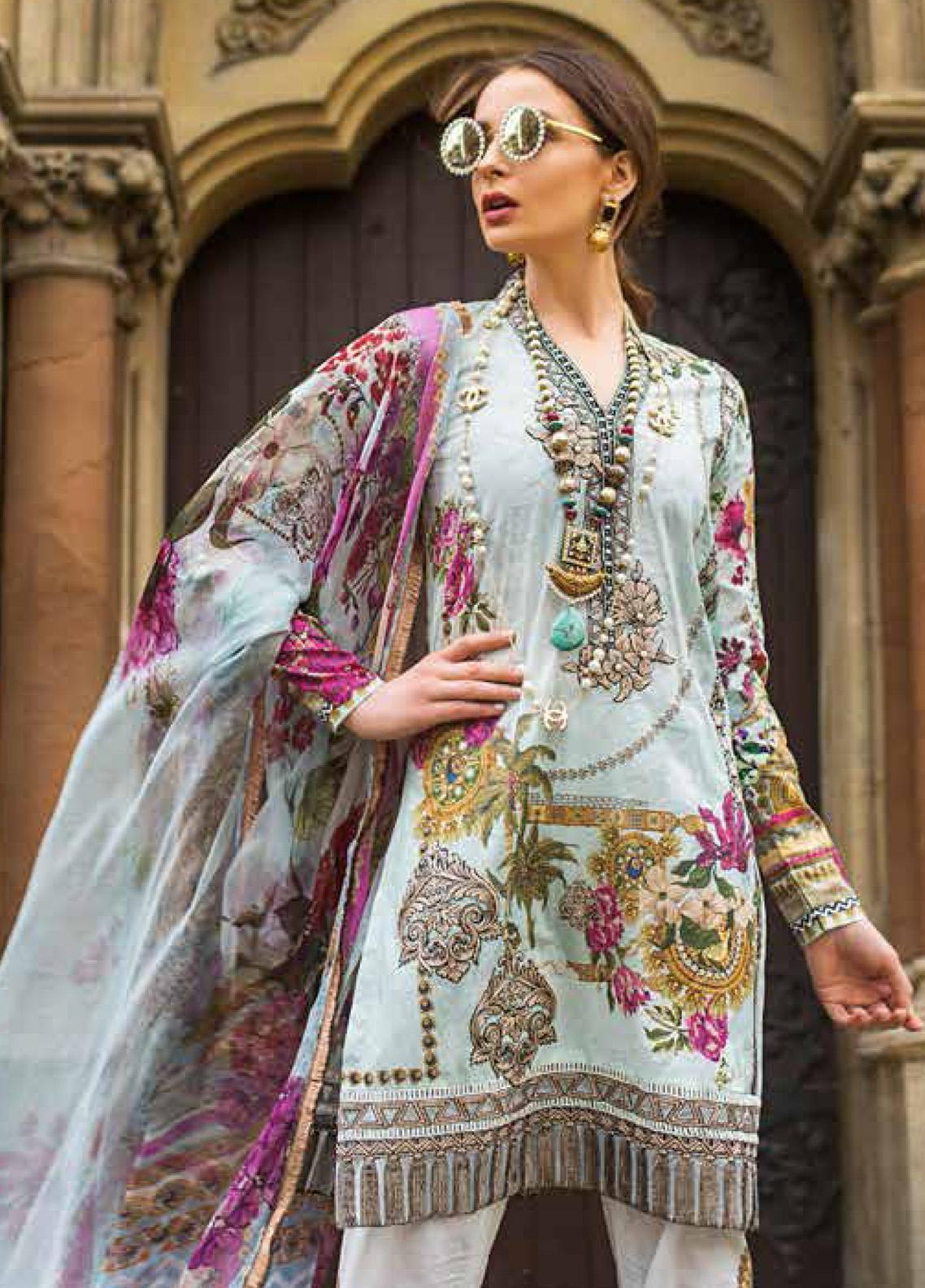 Mina Hasan Embroidered Lawn Unstitched 3 Piece Suit MH19F 2B - Festive Collection