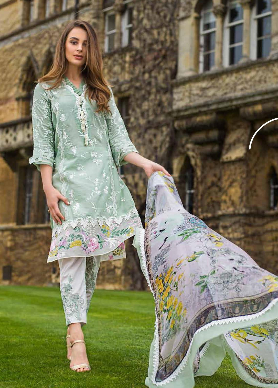Mina Hasan Embroidered Lawn Unstitched 3 Piece Suit MH19F 3B - Festive Collection