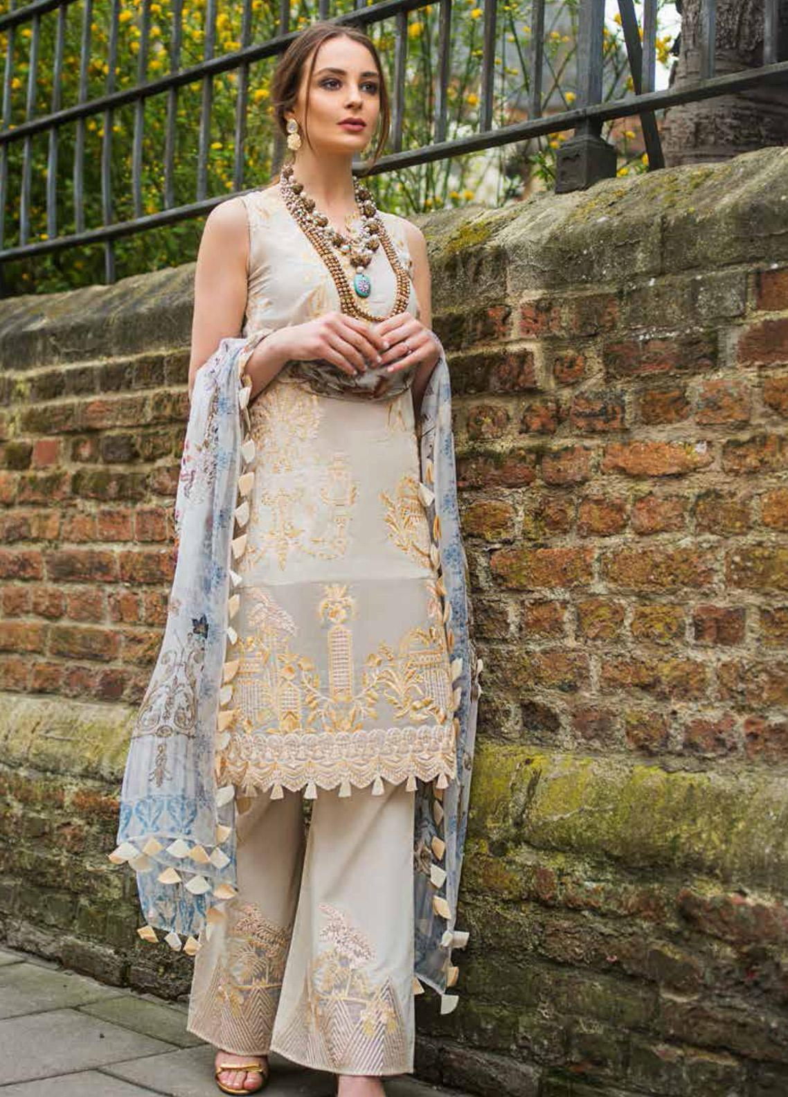 Mina Hasan Embroidered Lawn Unstitched 3 Piece Suit MH19F 5B - Festive Collection