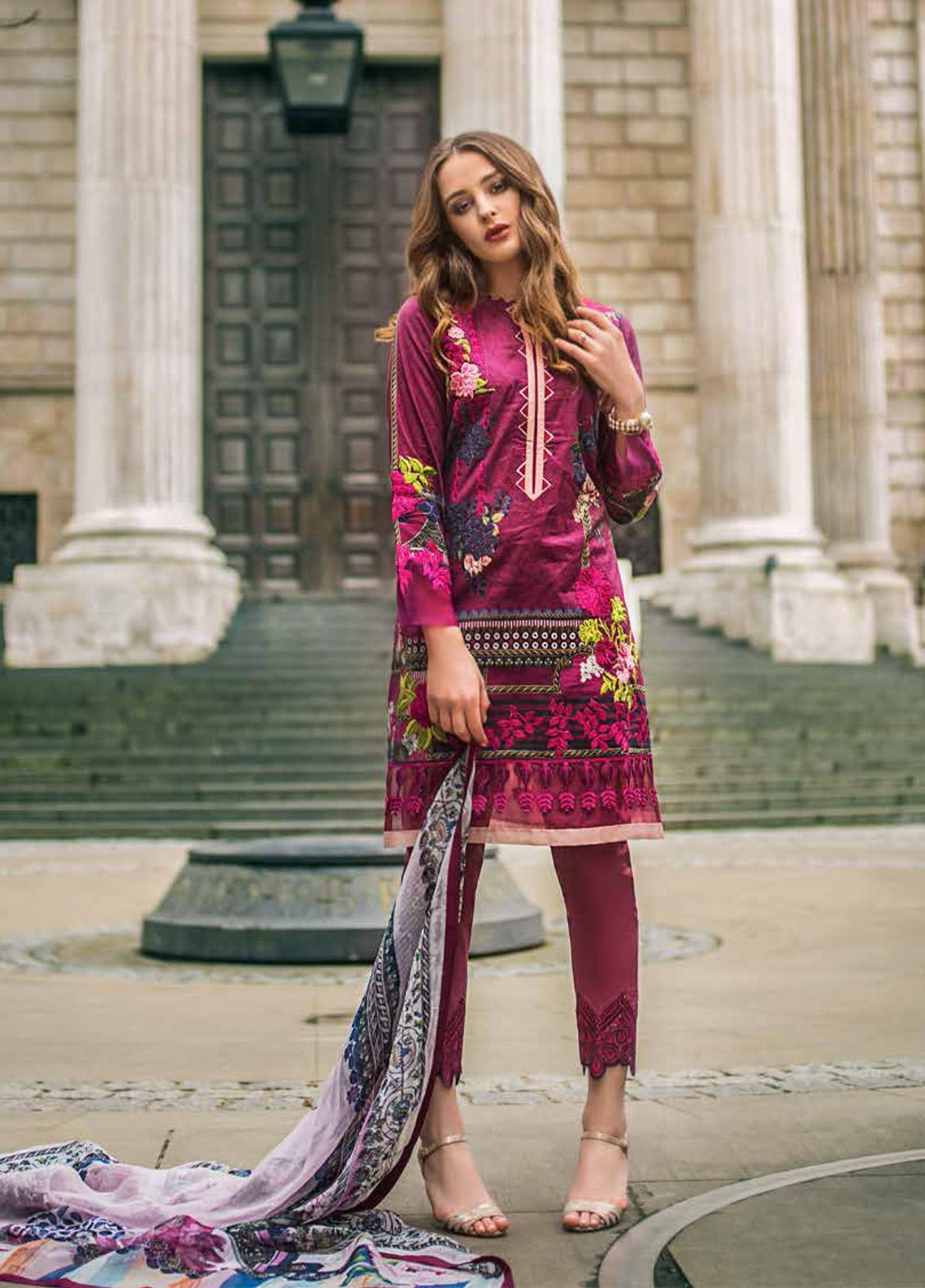 Mina Hasan Embroidered Lawn Unstitched 3 Piece Suit MH19F 6A - Festive Collection