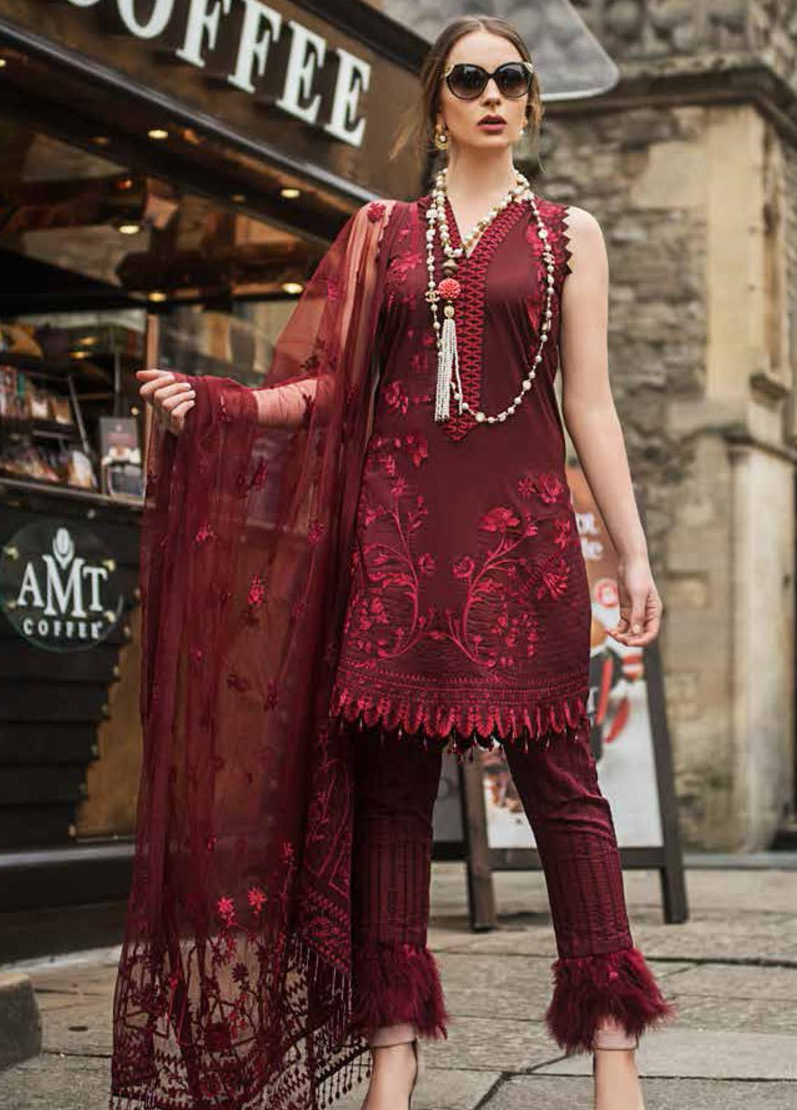 Mina Hasan Embroidered Lawn Unstitched 3 Piece Suit MH19F 9A - Festive Collection
