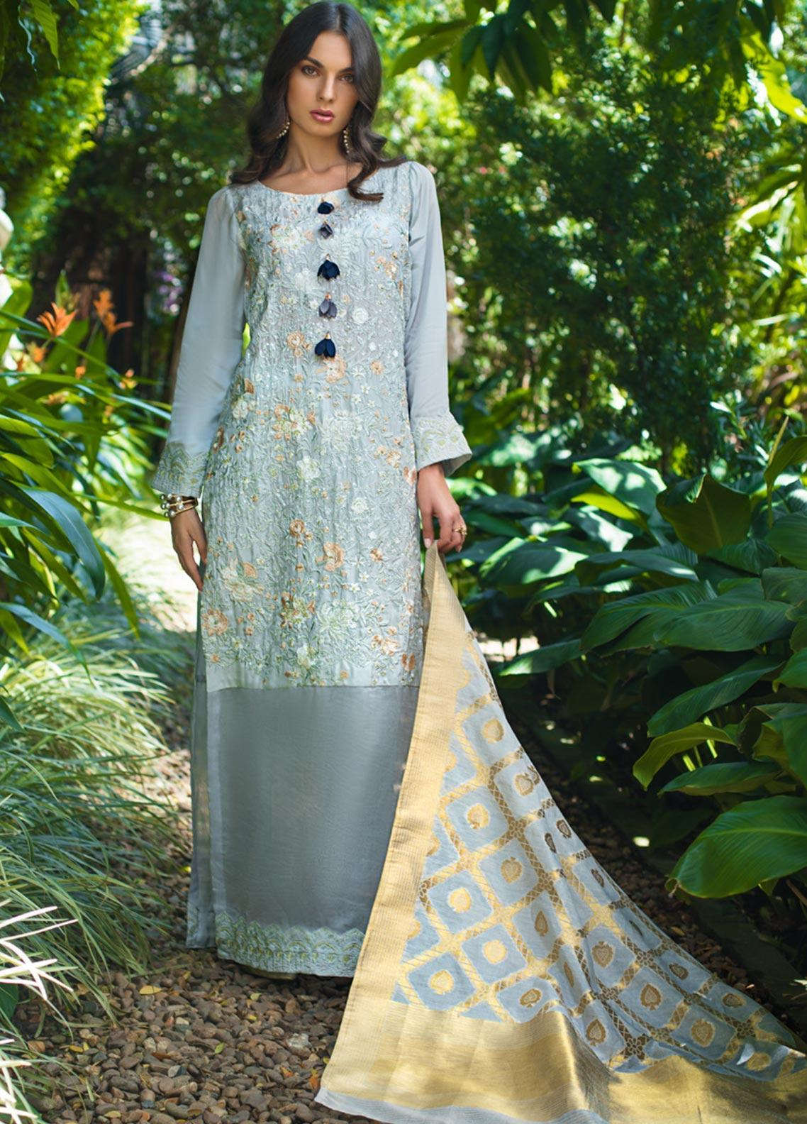Mirha by ZS Textile Embroidered Charmeuse Unstitched 3 Piece Suit MZS19CH 9 - Winter Collection