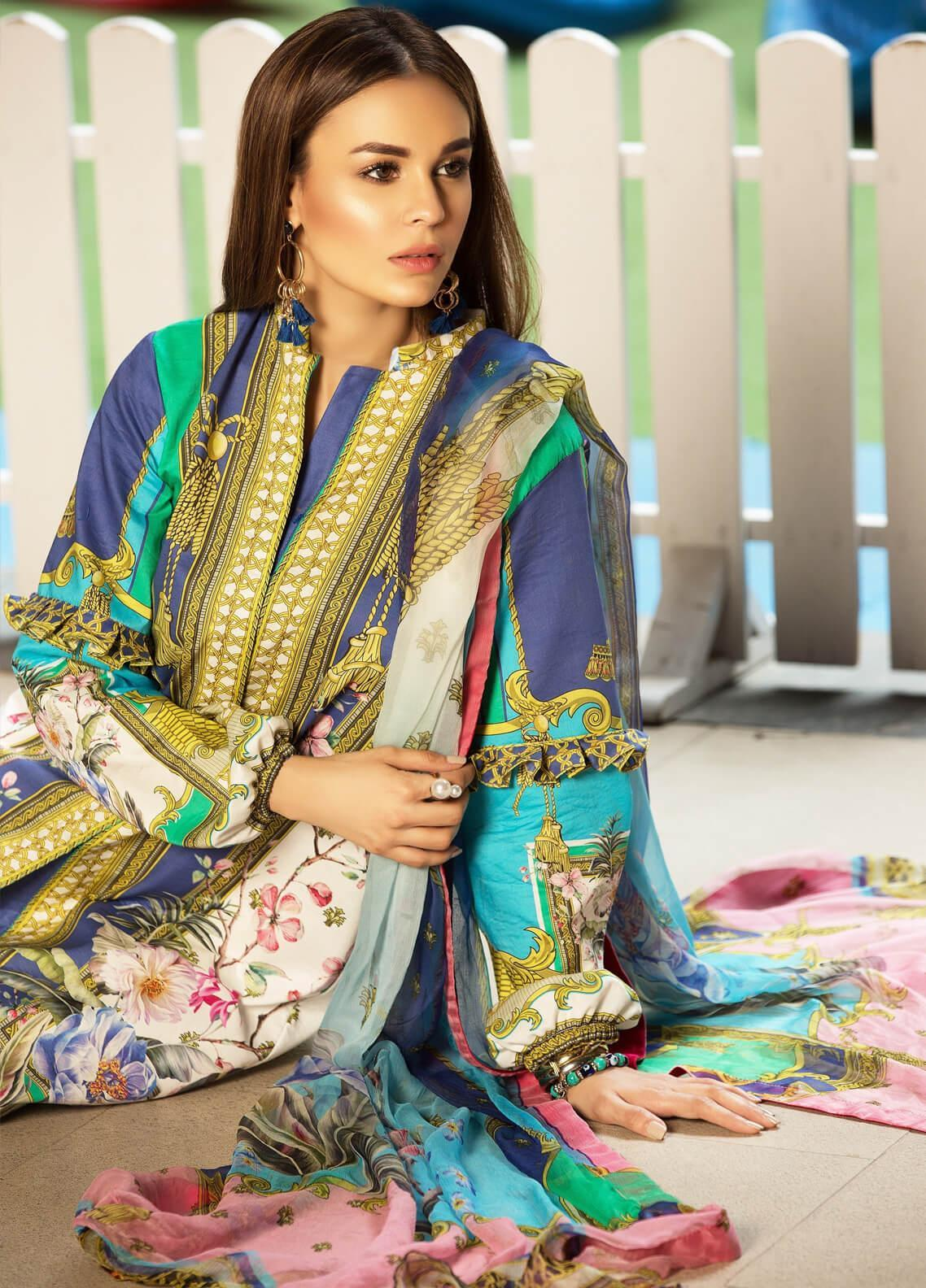 Mishkal by Rungrez Embroidered Lawn Unstitched 3 Piece Suit MSK19L 05 - Festive Collection