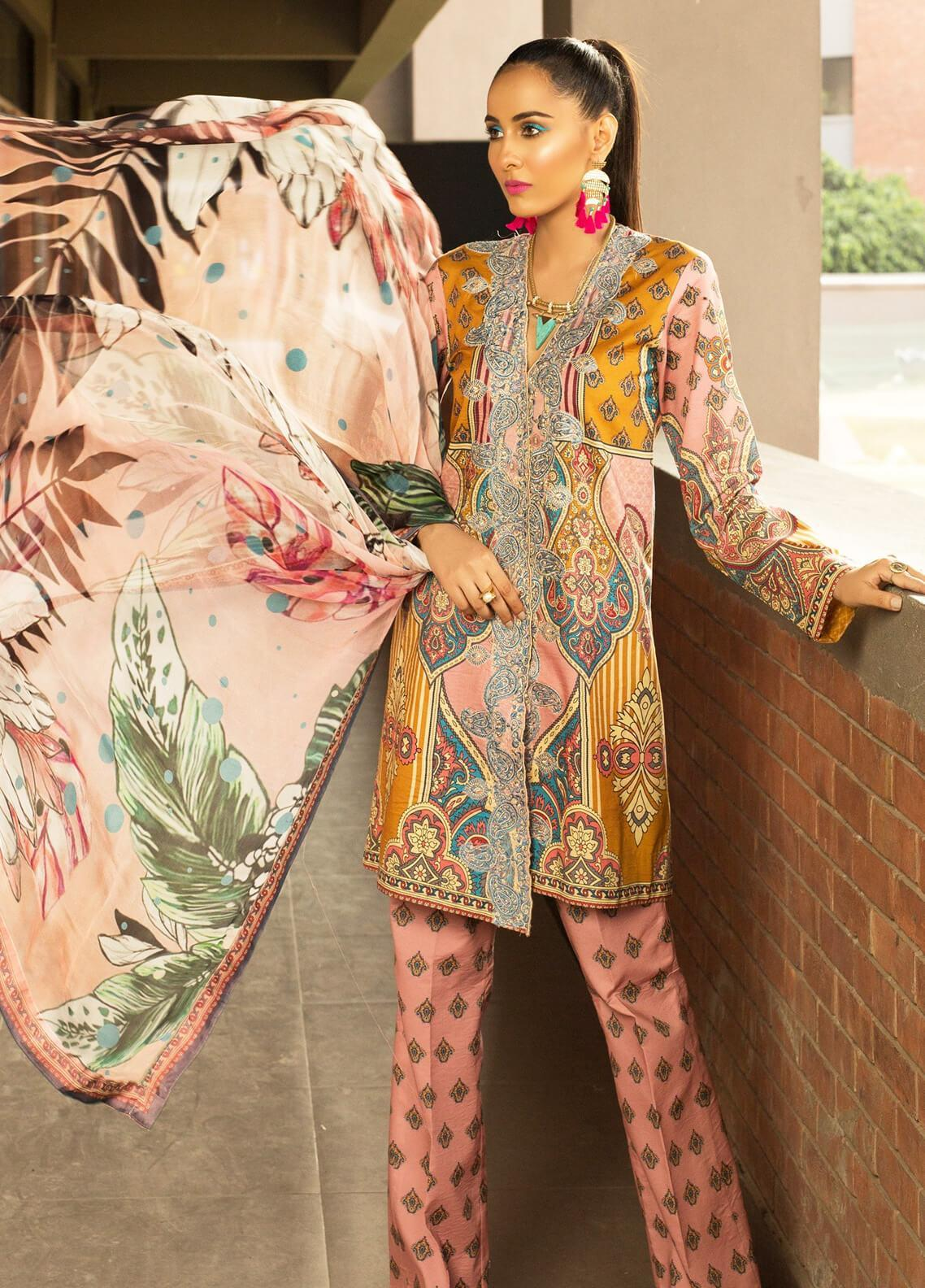 Mishkal by Rungrez Embroidered Lawn Unstitched 3 Piece Suit MSK19L 10 - Festive Collection