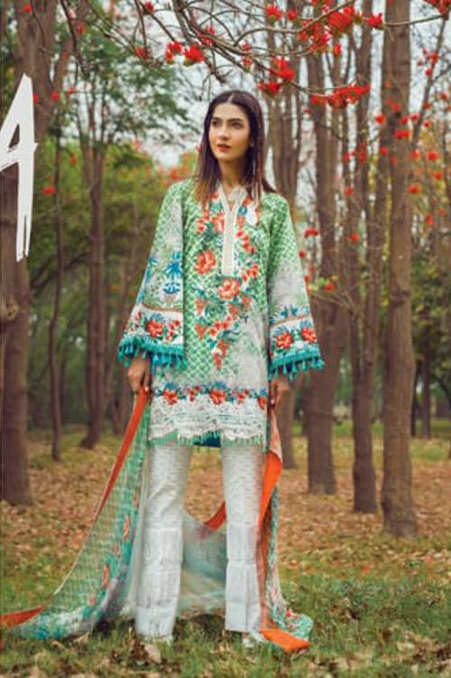 Mishkal Embroidered Lawn Unstitched 3 Piece Suit MK17L 10A