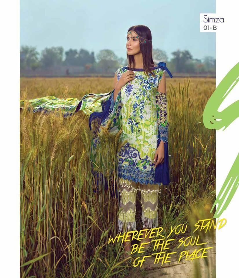 Mishkal Embroidered Lawn Unstitched 3 Piece Suit MK17L 1B