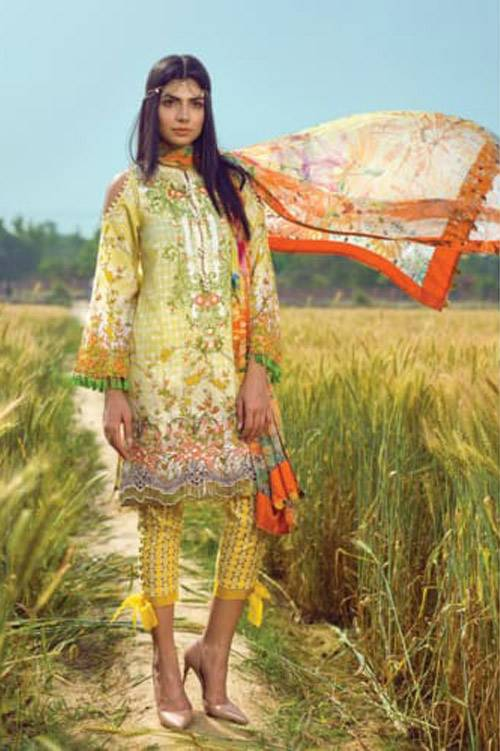 Mishkal Embroidered Lawn Unstitched 3 Piece Suit MK17L 2A