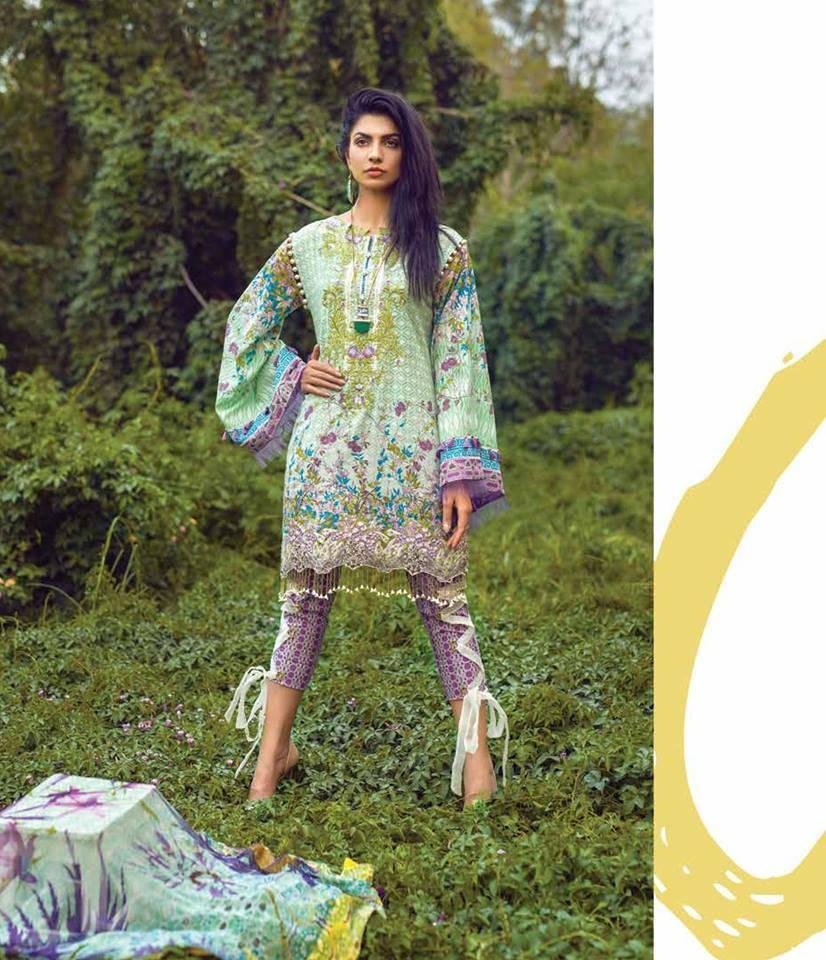 Mishkal Embroidered Lawn Unstitched 3 Piece Suit MK17L 2B