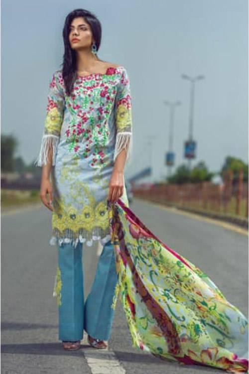 Mishkal Embroidered Lawn Unstitched 3 Piece Suit MK17L 3A