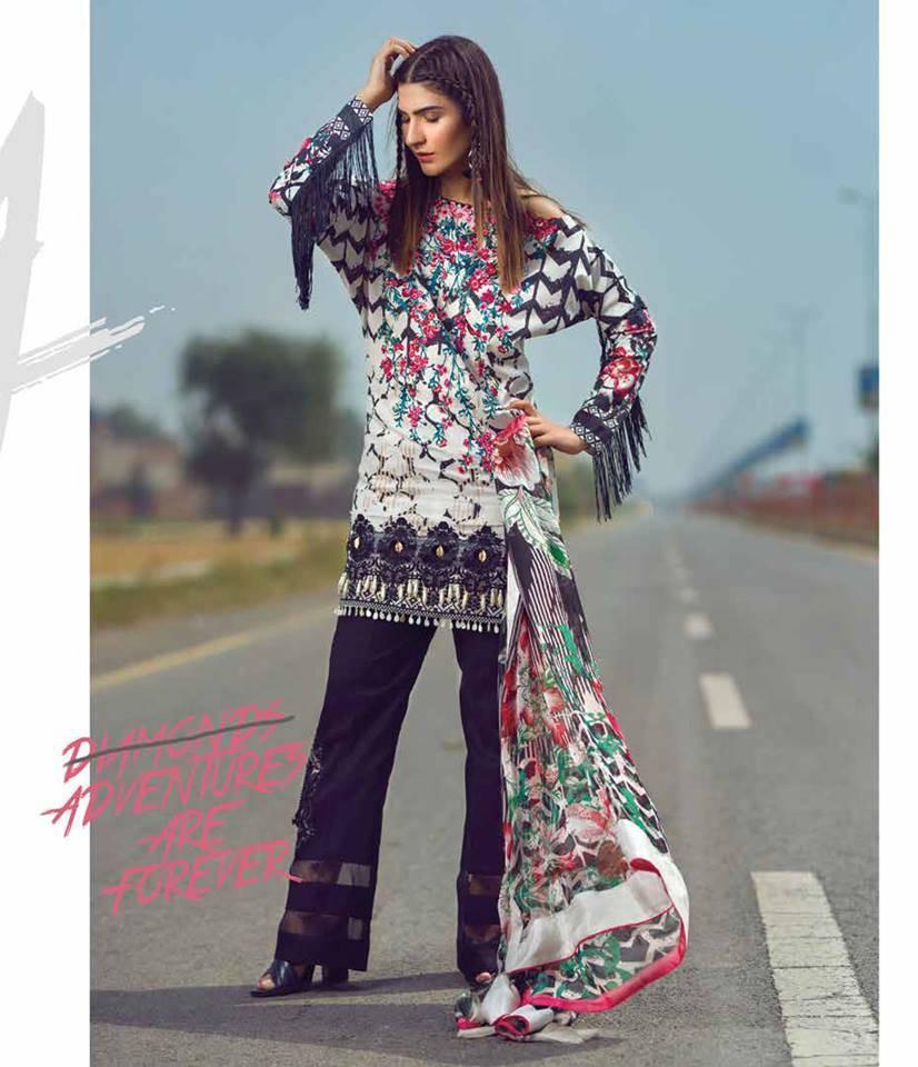 Mishkal Embroidered Lawn Unstitched 3 Piece Suit MK17L 3B