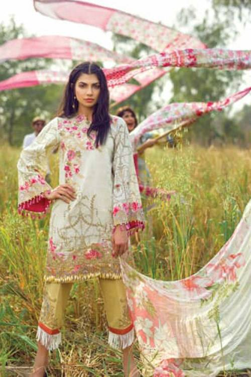 Mishkal Embroidered Lawn Unstitched 3 Piece Suit MK17L 4A