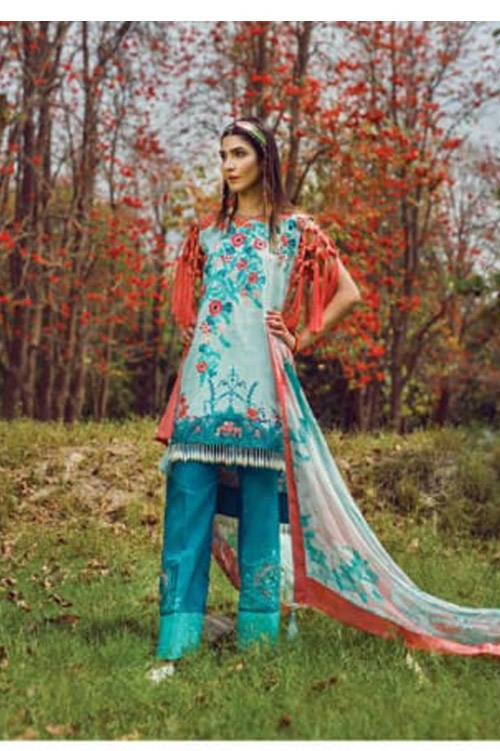 Mishkal Embroidered Lawn Unstitched 3 Piece Suit MK17L 4B