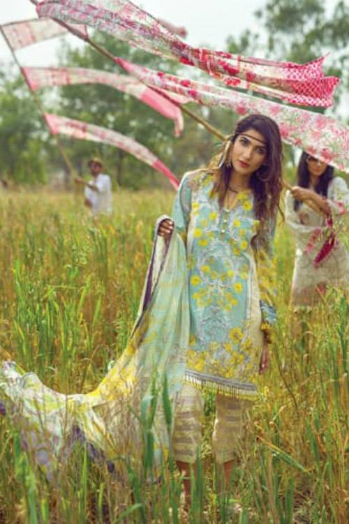 Mishkal Embroidered Lawn Unstitched 3 Piece Suit MK17L 5A