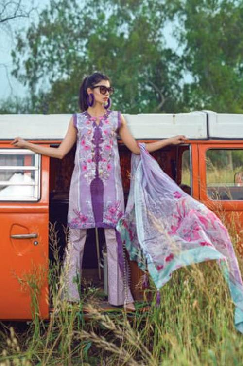 Mishkal Embroidered Lawn Unstitched 3 Piece Suit MK17L 5B