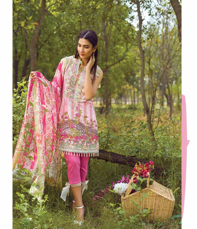 Mishkal Embroidered Lawn Unstitched 3 Piece Suit MK17L 6A