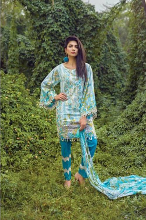 Mishkal Embroidered Lawn Unstitched 3 Piece Suit MK17L 6B