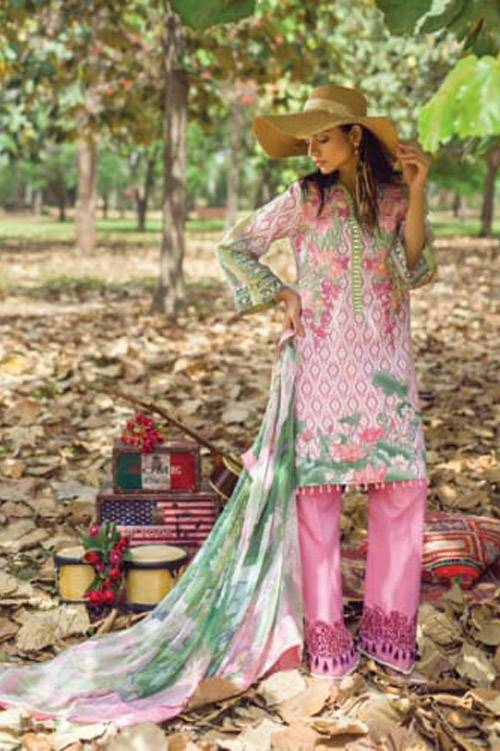 Mishkal Embroidered Lawn Unstitched 3 Piece Suit MK17L 8A