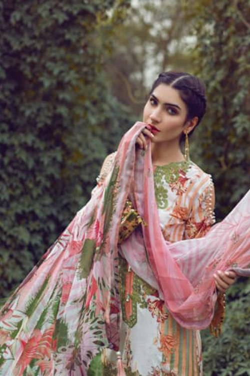 Mishkal Embroidered Lawn Unstitched 3 Piece Suit MK17L 9A