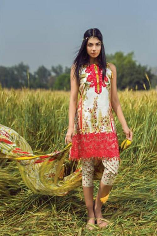 Mishkal Embroidered Lawn Unstitched 3 Piece Suit MK17L 9B