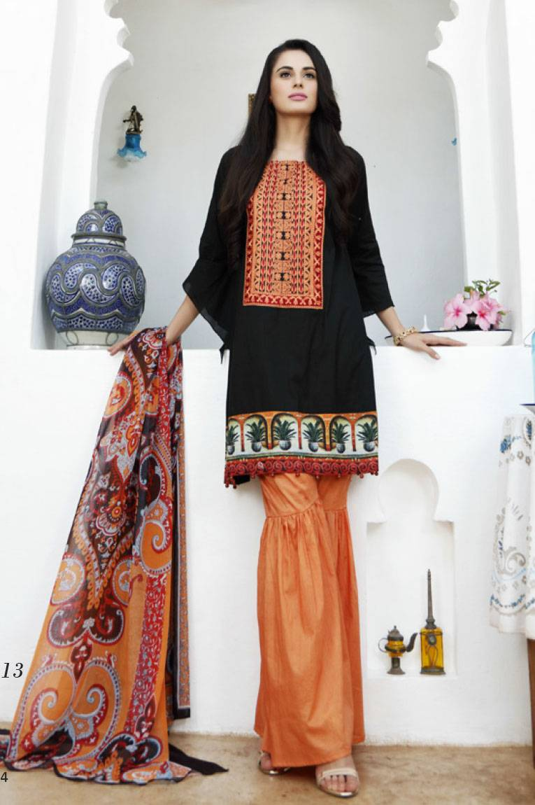 Al Zohaib Embroidered Lawn Unstitched 3 Piece Suit MN17E 13