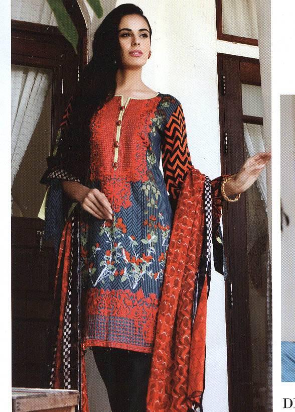 Al Zohaib Embroidered Lawn Unstitched 3 Piece Suit MN17E 2B