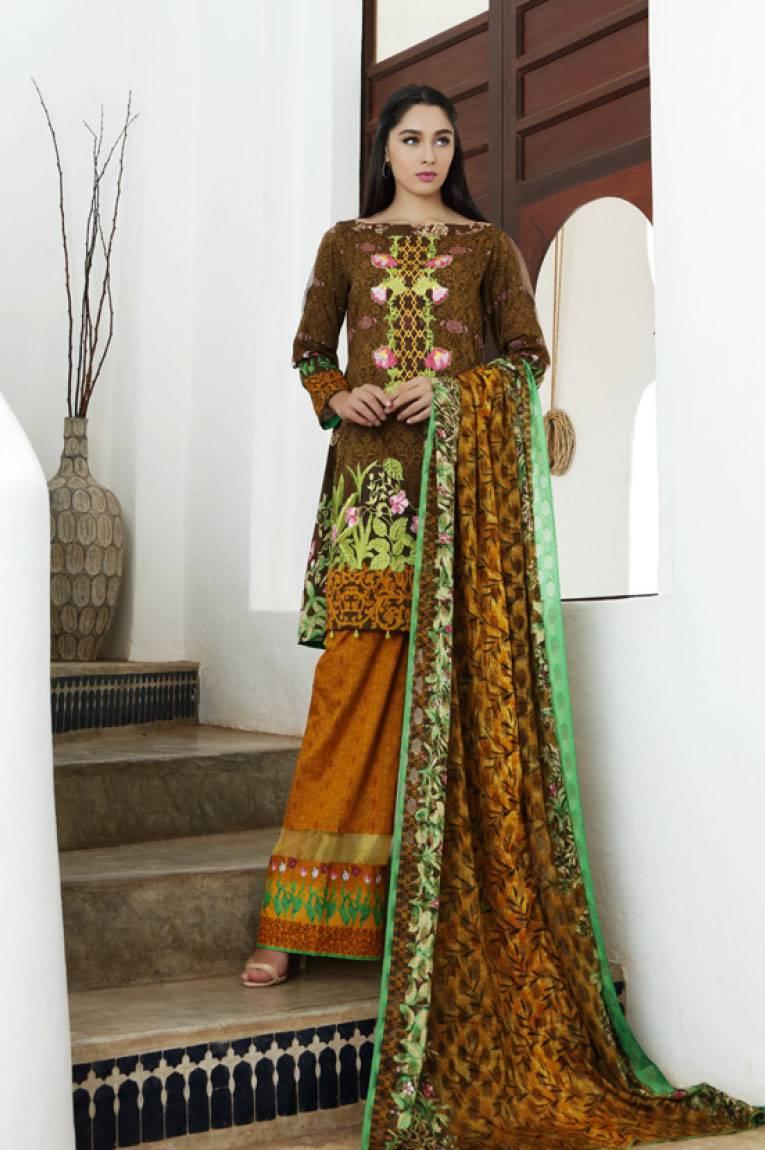 Al Zohaib Embroidered Lawn Unstitched 3 Piece Suit MN17E 4A