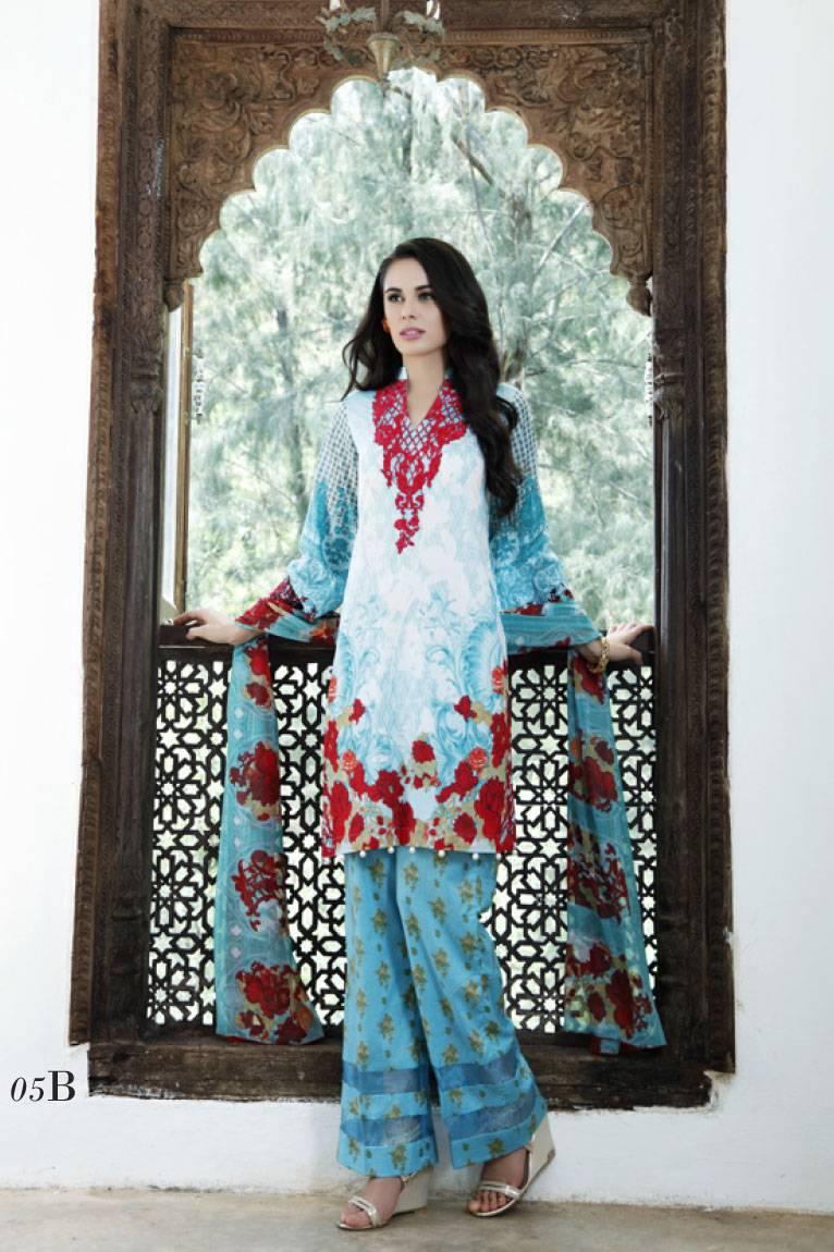 Al Zohaib Embroidered Lawn Unstitched 3 Piece Suit MN17E 5B