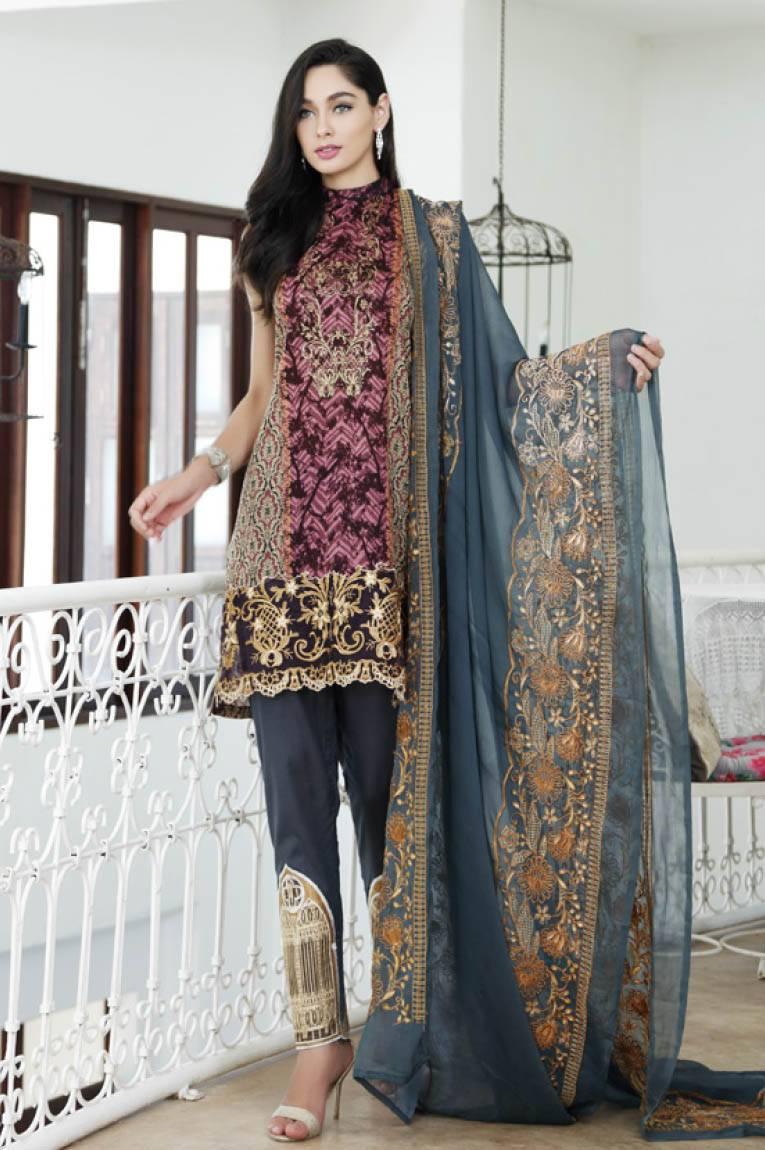 Al Zohaib Embroidered Lawn Unstitched 3 Piece Suit MN17E 6A