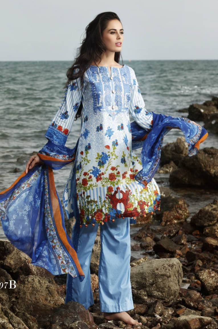 Al Zohaib Embroidered Lawn Unstitched 3 Piece Suit MN17E 7B