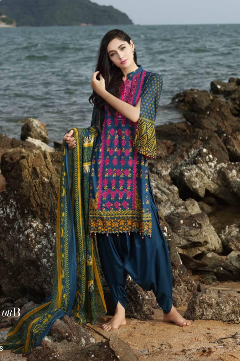 Al Zohaib Embroidered Lawn Unstitched 3 Piece Suit MN17E 8B
