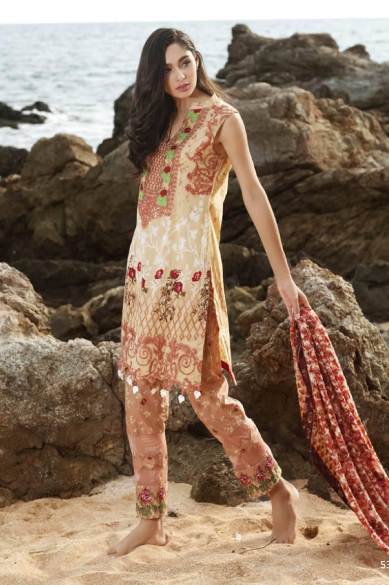 Al Zohaib Embroidered Lawn Unstitched 3 Piece Suit MN17E 9A