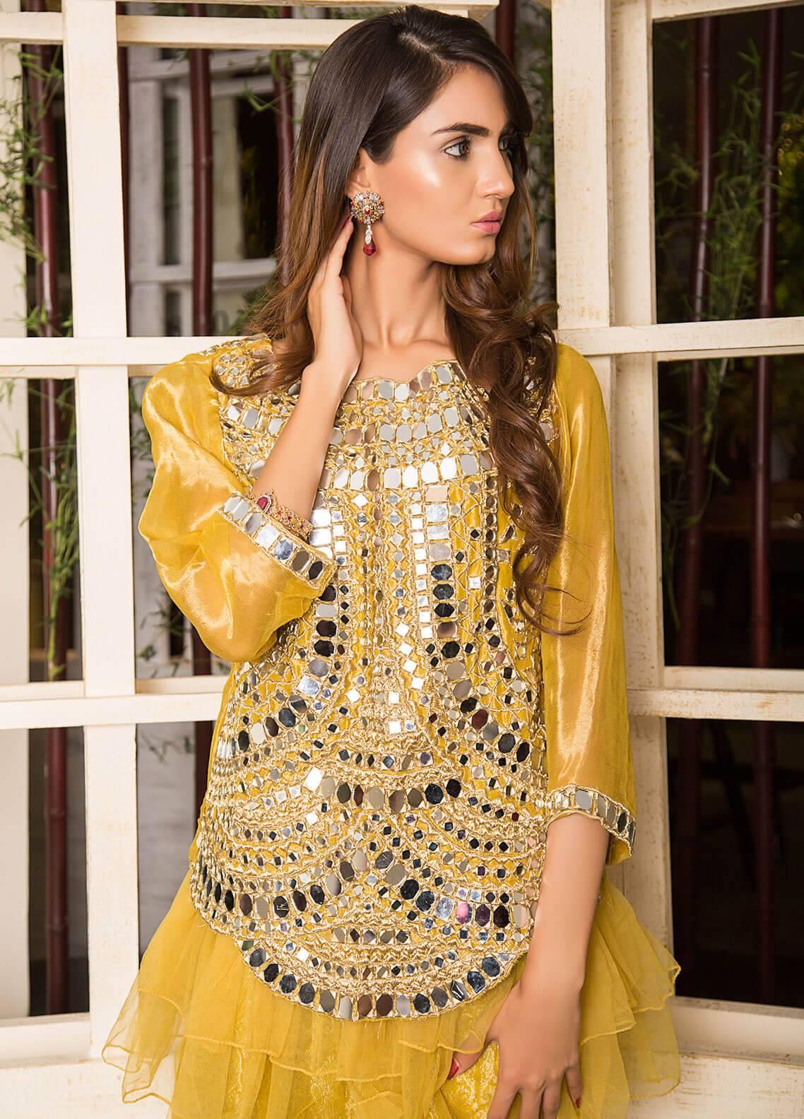Momal Khan Embroidered  Stitched Bridal Suit MK-01B Mandarin Garden