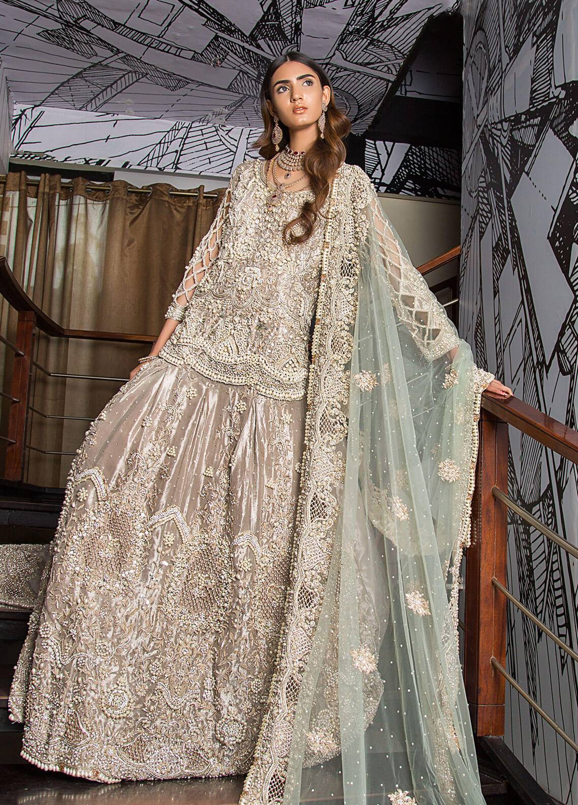 Momal Khan Embroidered  Stitched Bridal Suit MK-07B Clarissa
