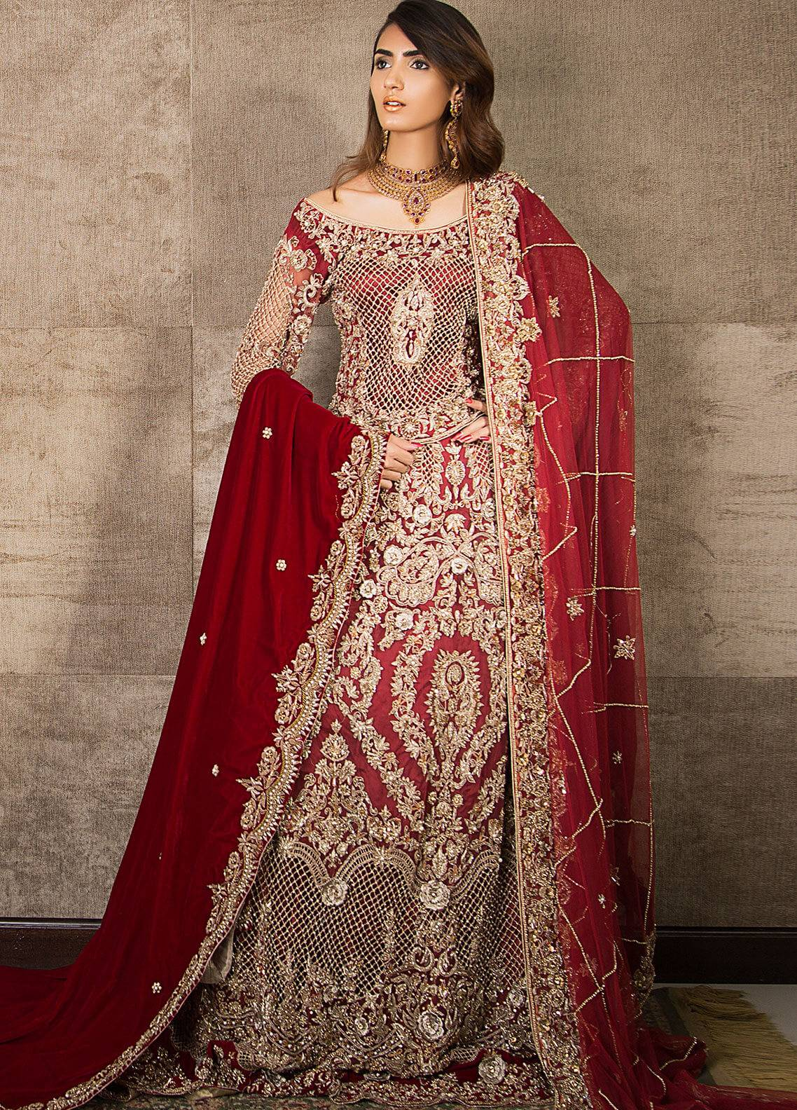 Momal Khan Embroidered  Stitched Bridal Suit MK-09B Classic Red