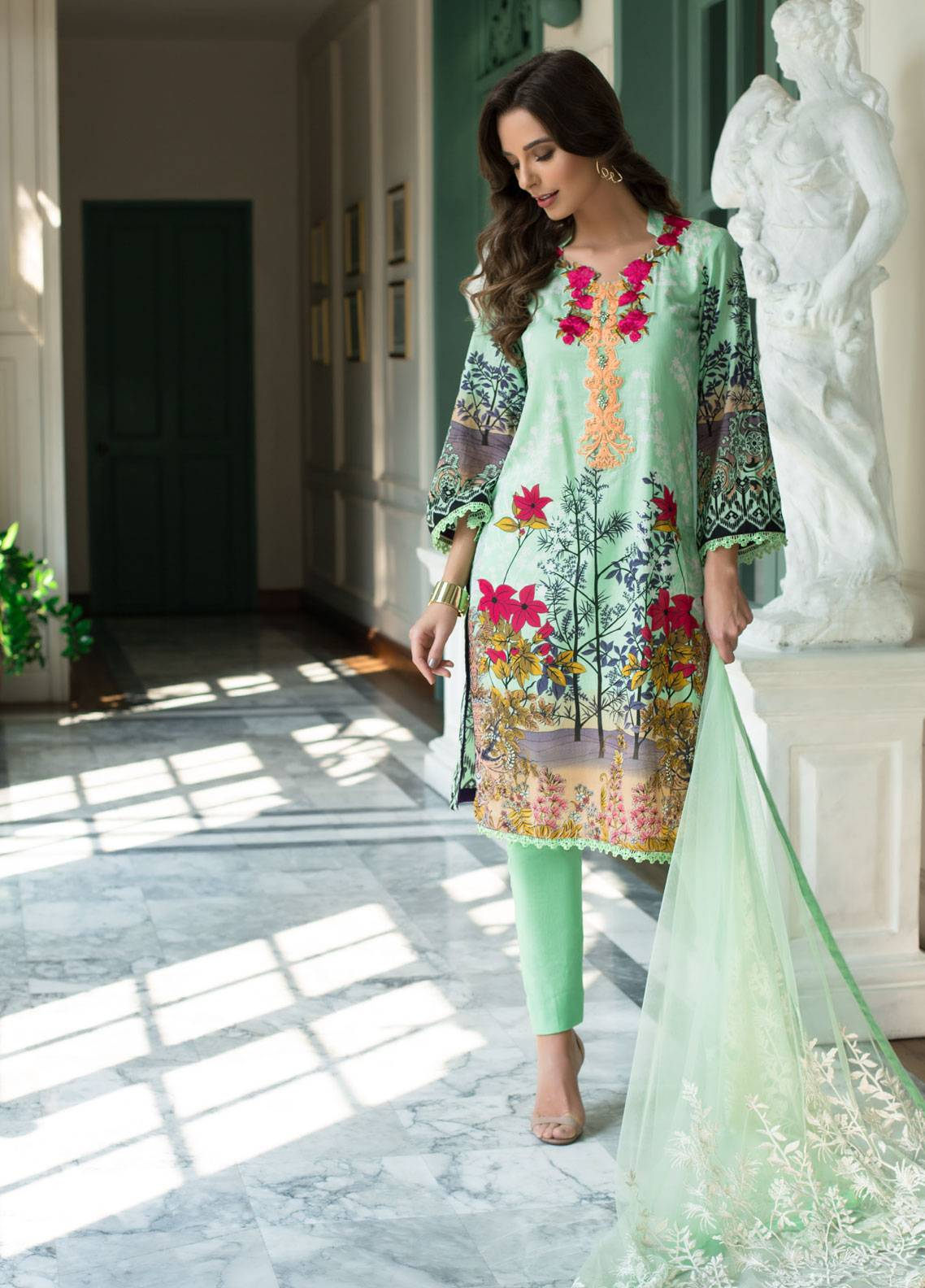 add7a37d3e Monsoon Festivana by Al Zohaib Embroidered Lawn Unstitched 3 Piece Suit  MNF19L 1B - Spring Summer Collection