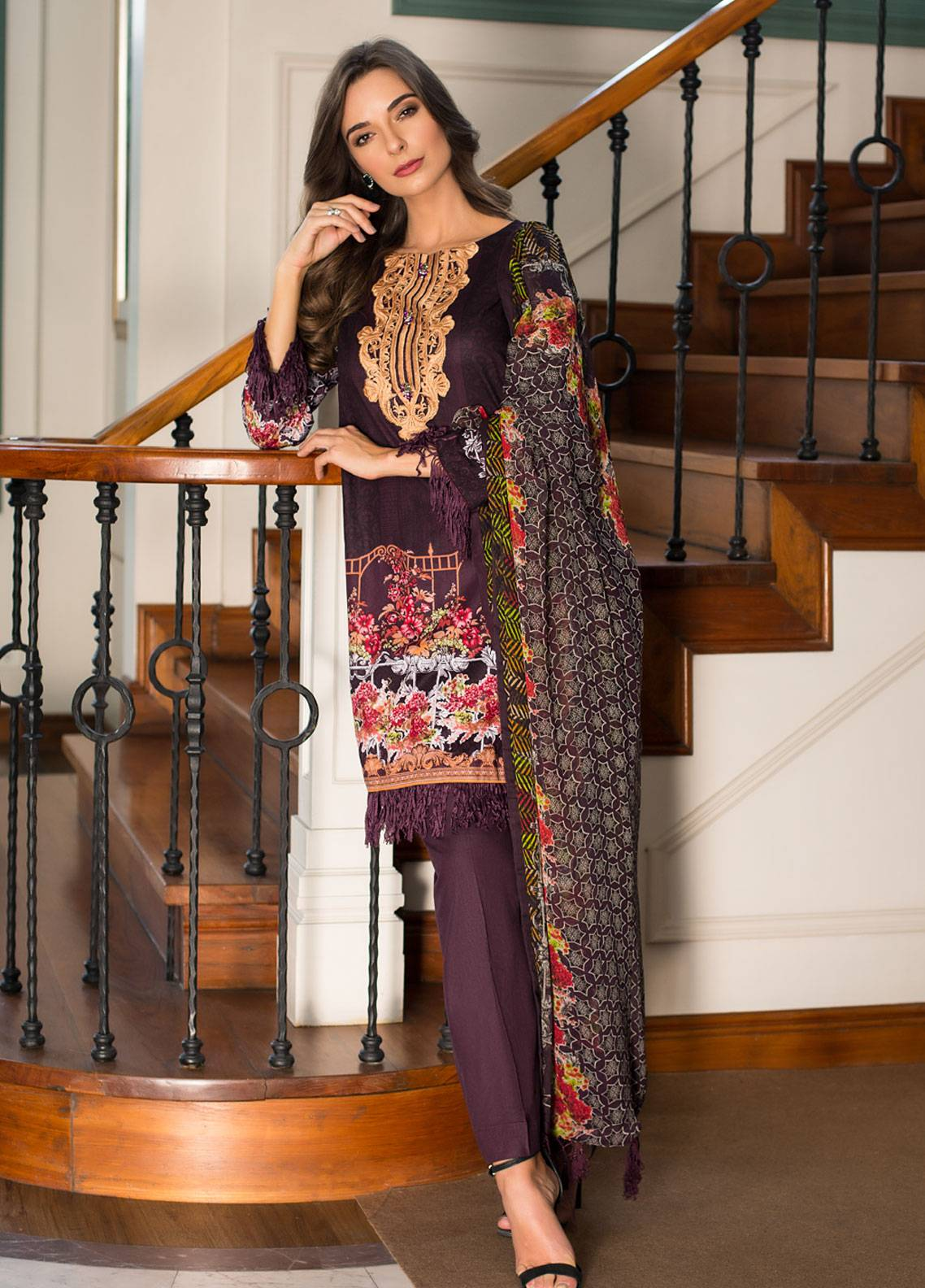 15072f2071 Monsoon Festivana by Al Zohaib Embroidered Lawn Unstitched 3 Piece Suit  MNF19L 4A - Spring Summer Collection