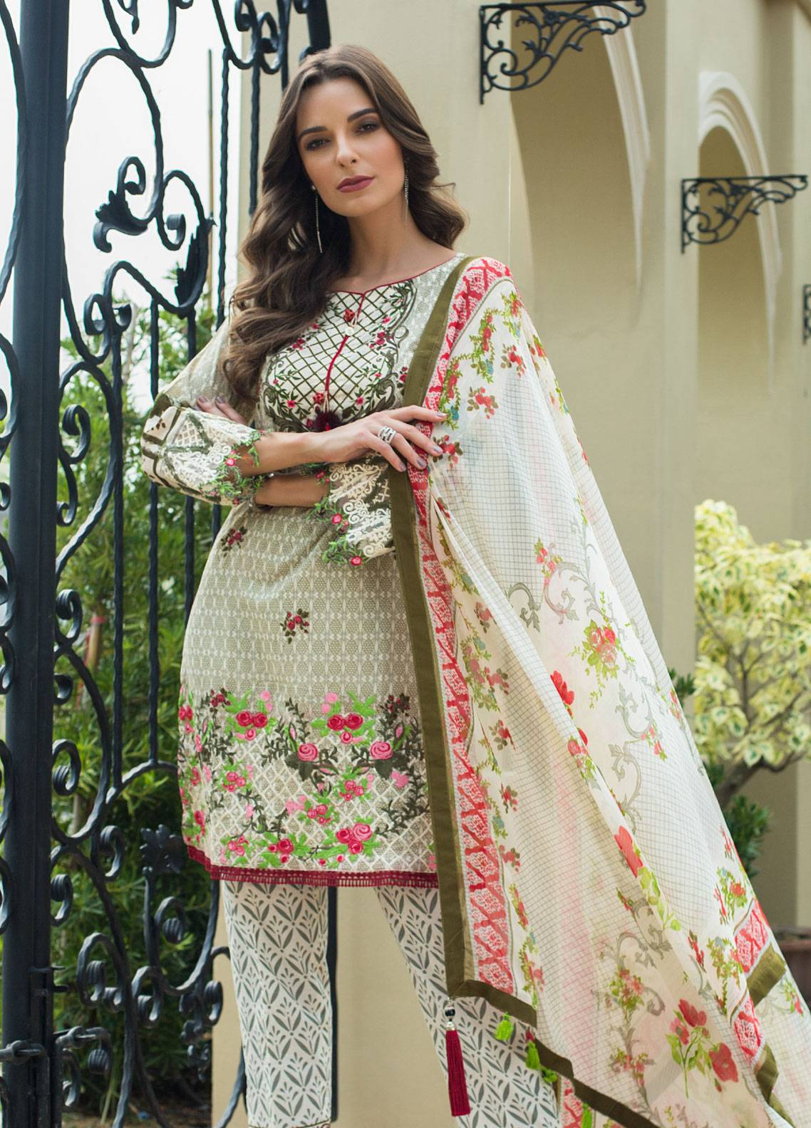 d81c608798 Monsoon Festivana by Al Zohaib Embroidered Lawn Unstitched 3 Piece Suit  MNF19L 7B - Spring Summer Collection