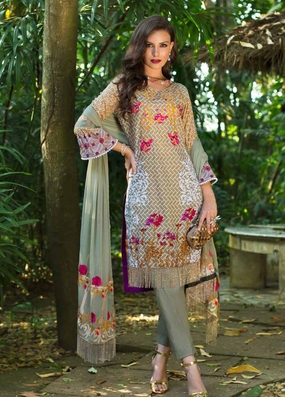 199ab5a2a2 Monsoon Festivana by Al Zohaib Embroidered Lawn Unstitched 3 Piece Suit  MNF19-L2 1B - Spring / Summer Collection