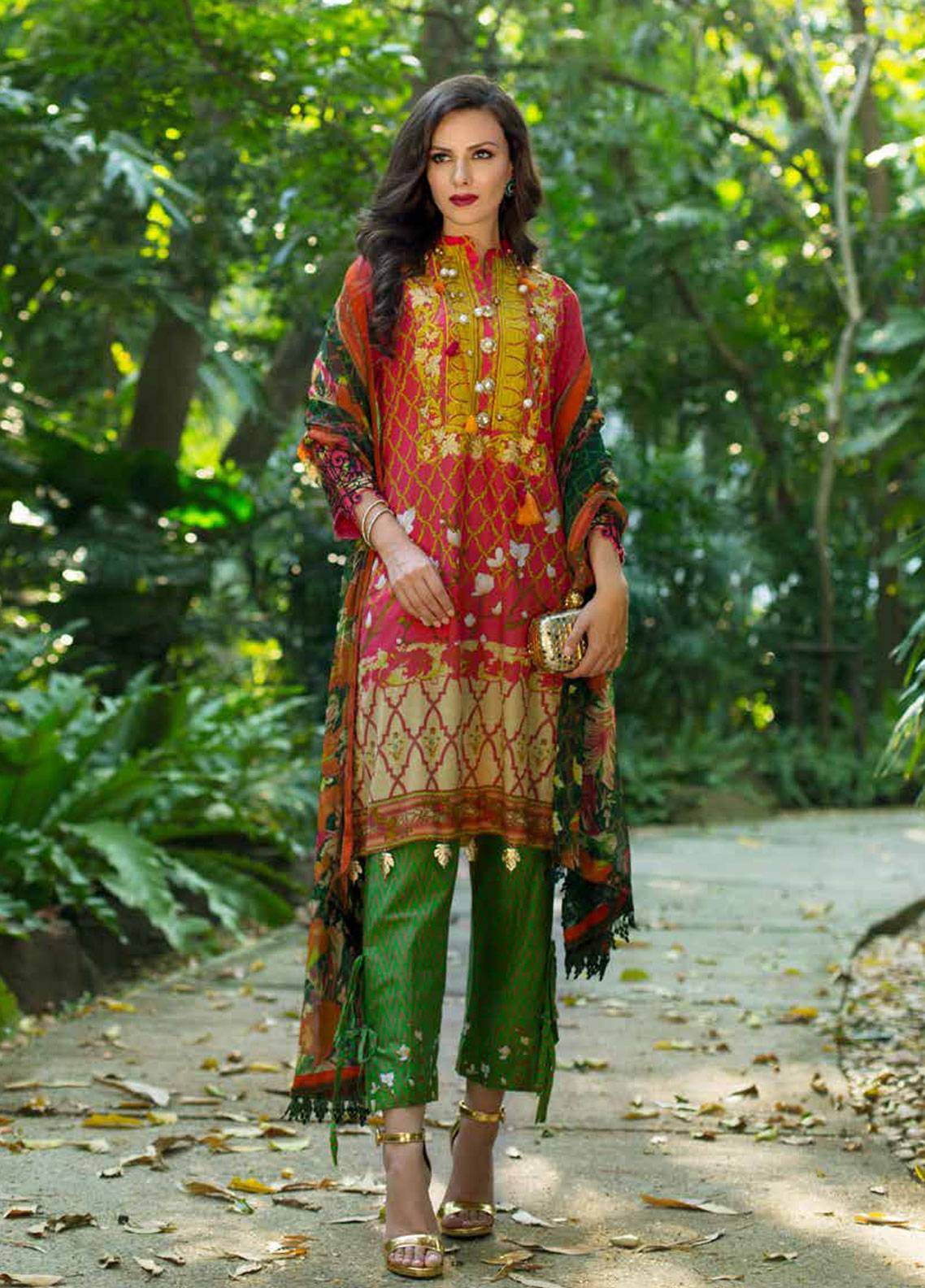 Monsoon Festivana by Al Zohaib Embroidered Lawn Unstitched 3 Piece Suit MNF19-L2 2A - Spring / Summer Collection