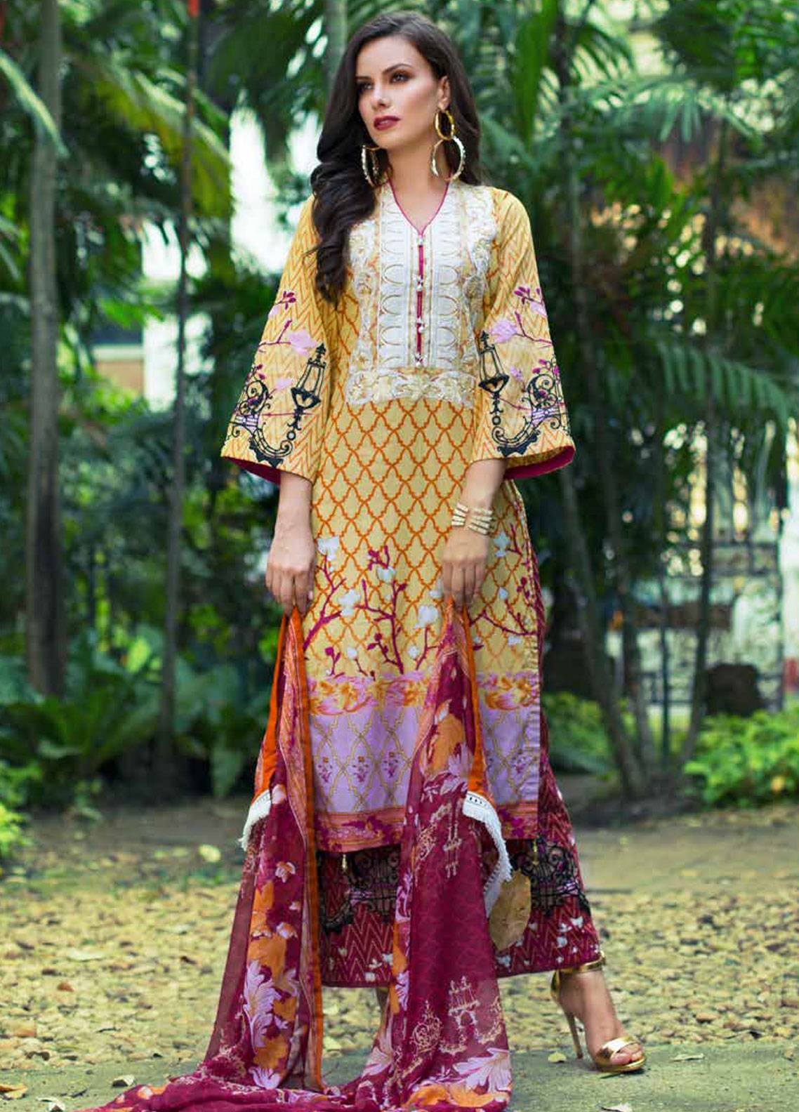 Monsoon Festivana by Al Zohaib Embroidered Lawn Unstitched 3 Piece Suit MNF19-L2 2B - Spring / Summer Collection