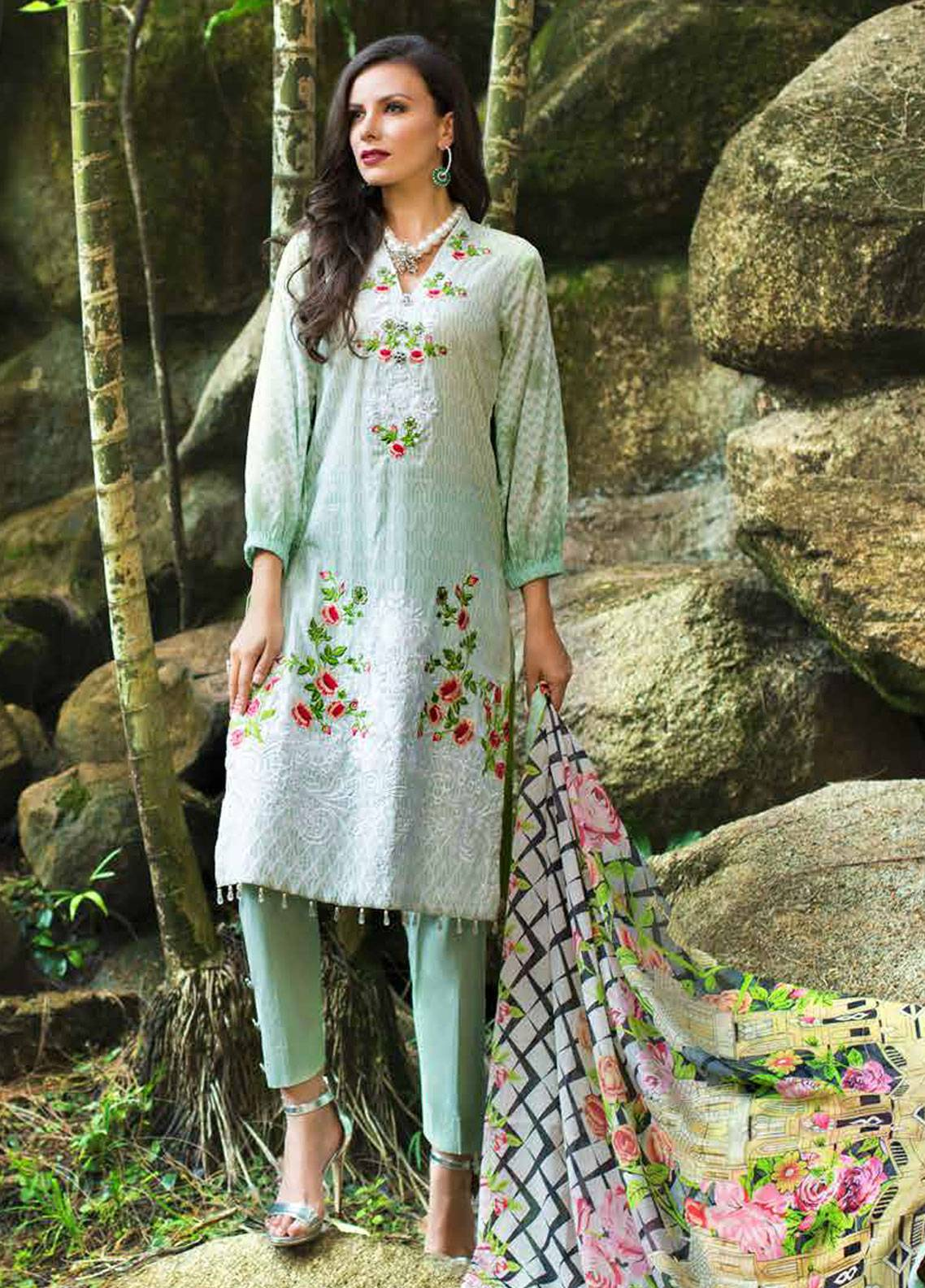 Monsoon Festivana by Al Zohaib Embroidered Lawn Unstitched 3 Piece Suit MNF19-L2 3A - Spring / Summer Collection