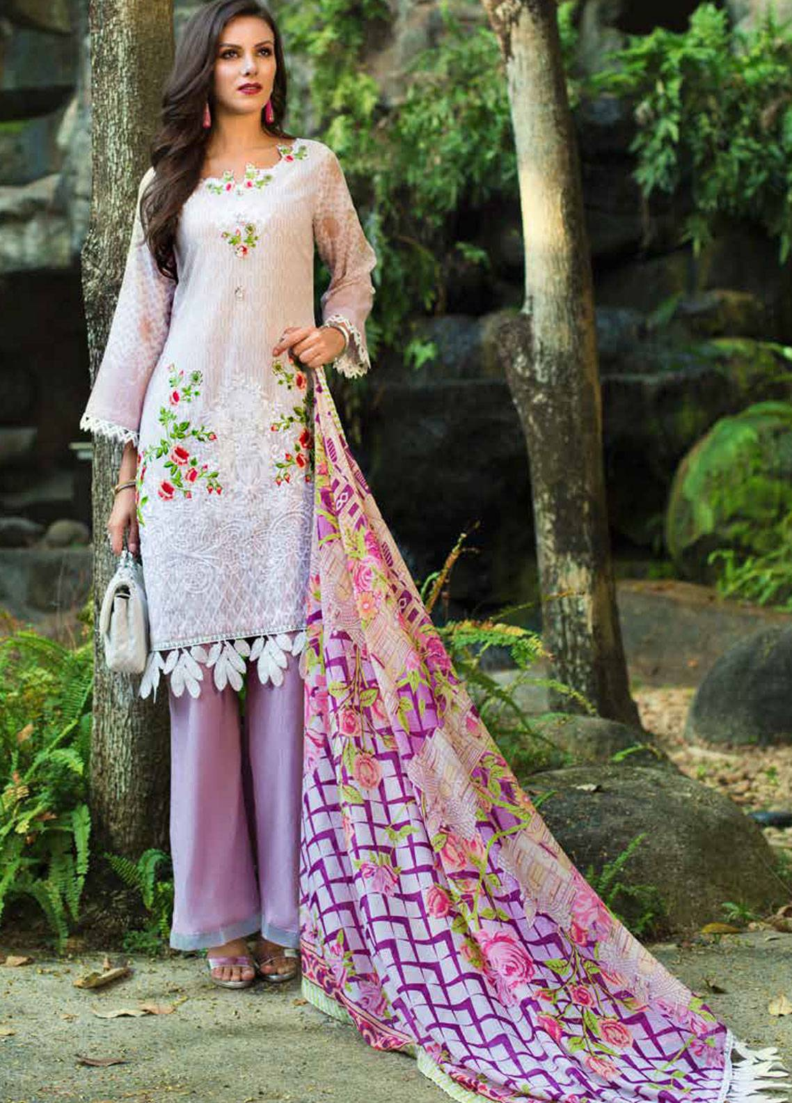 Monsoon Festivana by Al Zohaib Embroidered Lawn Unstitched 3 Piece Suit MNF19-L2 3B - Spring / Summer Collection
