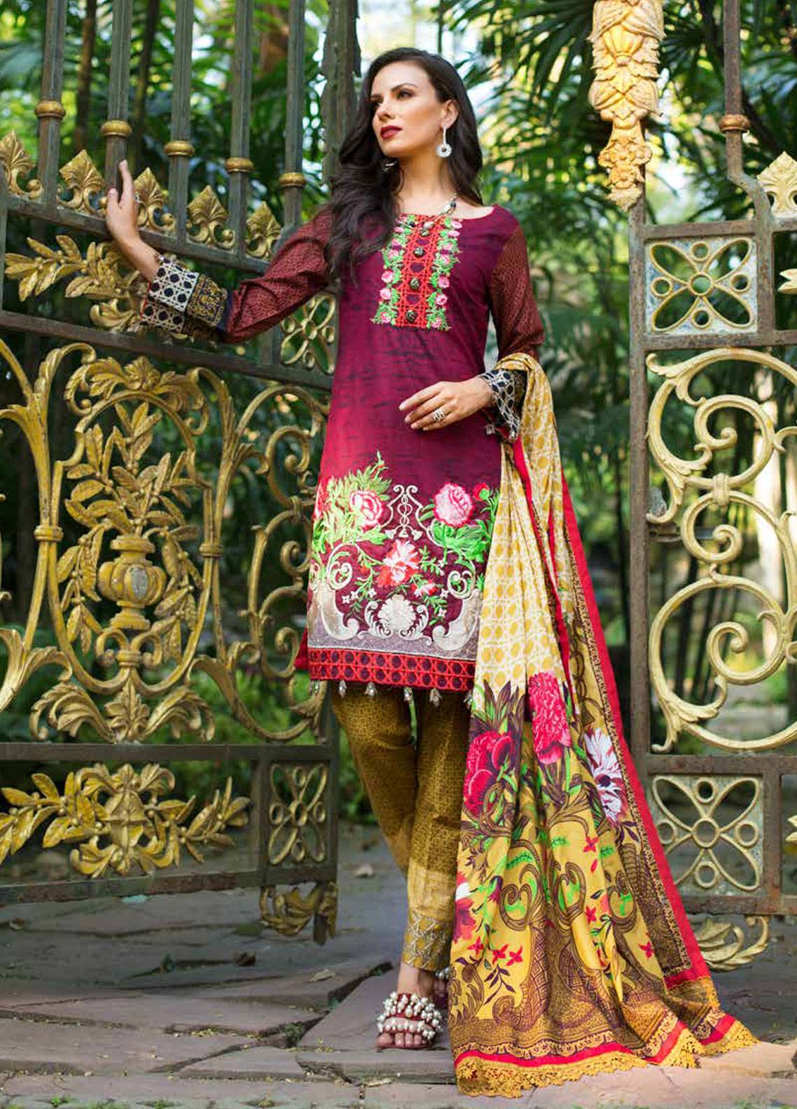 a833b86b16 Monsoon Festivana by Al Zohaib Embroidered Lawn Unstitched 3 Piece Suit  MNF19-L2 4A - Spring / Summer Collection